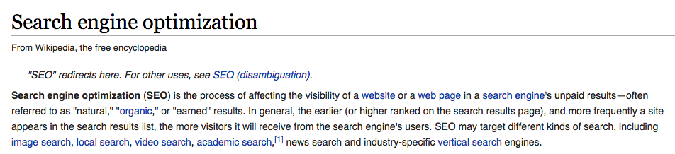wikipedia definition seo