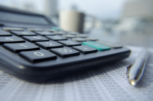 Calculator calculating PPC budget