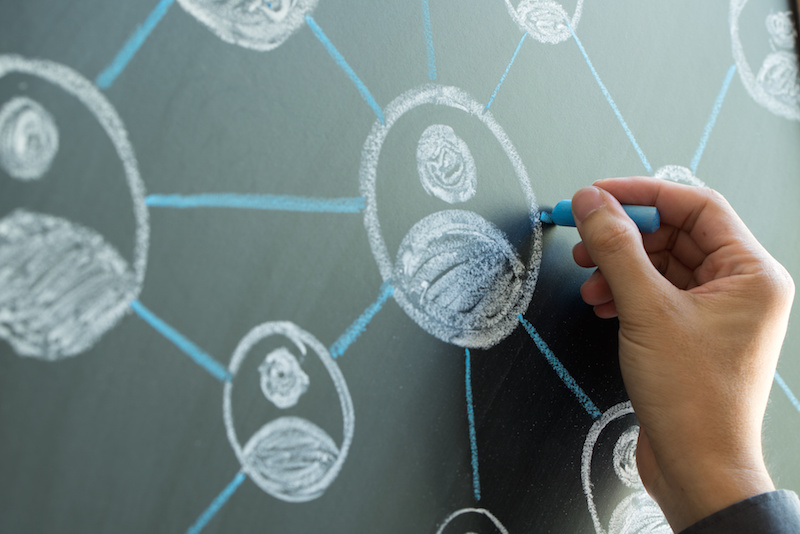 Social media marketing drawing on chalkboard