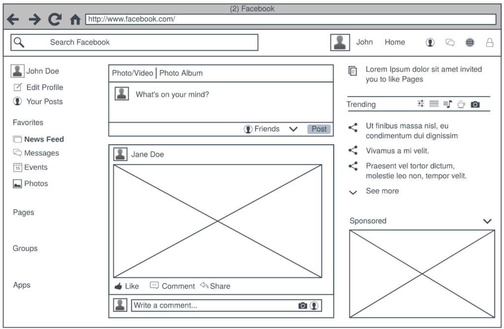 Wireframe example from LucidChart