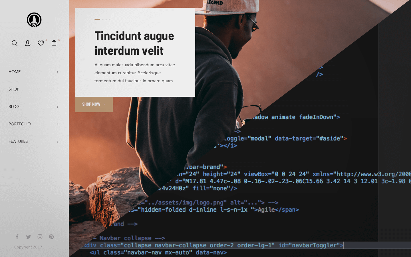 Split picture showing half an image and website design and half the code behind it