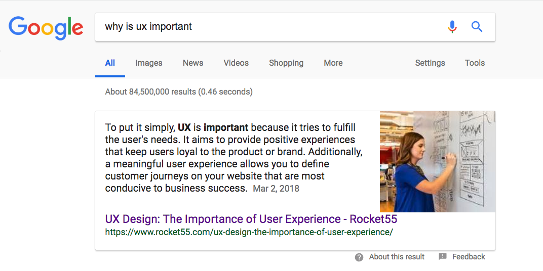 Screenshot of a featured snippet on Google